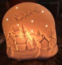 Nightlight:Santa's Sleigh Flying Through Starry Night Above Snowy Town Soft Glow