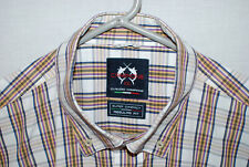 Claiduo Campione Mens S/S Plaid Button Shirt Yachting Cotton Size XXL 2XL NWOT