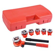Ratchet Ratcheting Pipe Threader Tool Kit Set with 6 Dies and Storage Case US