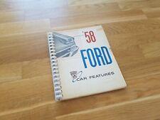 RARE Original 1958 Ford Car Features Book / Fairlane, Custom, Station Wagon