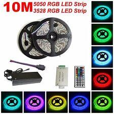 10M SMD RGB 3528 5050 Waterproof 300 LED Strip Light 44 Key Remote 12V Power Kit