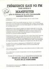 Manifeste Fréquence Gaie 1985  Manifestation Radio Gay homosexualité Lesbienne