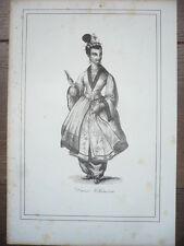 GRAVURE ORIGINALE COSTUME 19ème SIÈCLE DAME CHINOISE