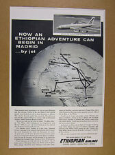 1963 Ethiopian Airlines boeing 720-b jet globe route map art vintage print Ad
