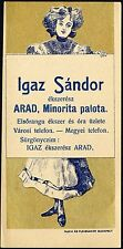 ROMANIA HUNGARY ADVERTISING ARAD jeweller IGAZ SÁNDOR ceasornicar bijutier