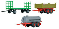3 PIECE FARM TRAILER SET KIBRI 1/87 HO SCALE PLASTIC MODEL KIT 10908