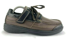 Orthofeet Black Brown Leather Oxford Moc Toe Boat Deck Shoes Mens Size 10.5 D