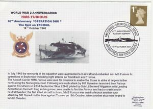 GB Stamps Navy Souvenir Cover WWII Anniversaries HMS Furious raid on Tromso 2007