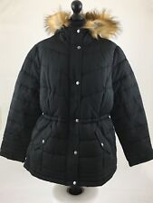 Womens Black Padded Coat With Fur Hood Size 20