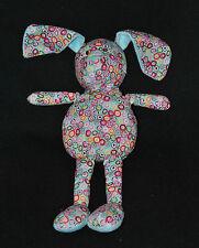 Peluche Doudou Lapin Bleu MY BABY SWEET Fleurs Ronds Multicolores 33 Cm  BE