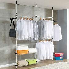 Adjustable Garment Rack DIY Coat Hanger Clothes Rack Wardrobe 3 Poles 4 Bars AU/