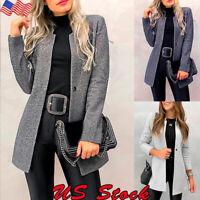 Women Winter Trench Coats Blazer Woollen Jackets Outwear Collar Parka Overcoat