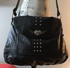 Harley Davidson black- leather cross-body saddle-bag with silver hardware detail