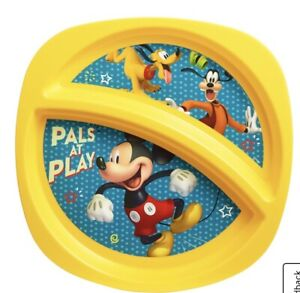 Disney Mickey Mouse Toddler Plate Sectioned Plate Yellow Kids Plate