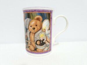 "Crown Trent Tea Cup Night Time Teddy Bear White and Purple Trim 10"" Bone China"