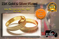 22K Gold1 Plated 2Pc Bracelet Bangle Indian Women Ethnic Traditional Jewelry 2*6