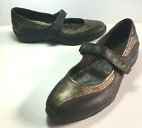 Ecco Mary Jane Leather Shoes Copper Brown Flats Womens Size EUR 41