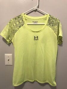 Under Armour Run Heat Gear Womens Bright Yellow Shirt Size Medium