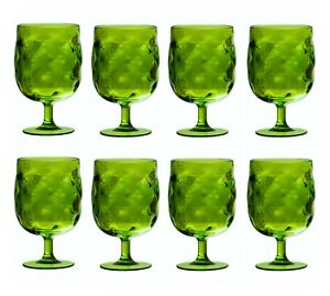 QG 12 oz Green Colorful Stackable Acrylic Plastic Glass Goblet Tumbler Set of 8