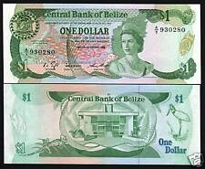 BELIZE 1 DOLLAR P46 1986 BIRD LIZARD QUEEN UNC RARE CARIBBEAN MONEY BANK NOTE