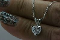 1.00 CT Heart Cut Diamond Solitaire Pendant Necklace Solid 14K White Gold Finish