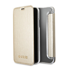 IPhone X/XS CG MOBILE GUESS Gold PU Leather & Transparent Book Case Flip Cover