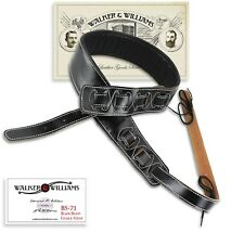"Walker & Williams BS-71 3.5"" Black Leather Cradle Banjo Strap with Thick Padding"