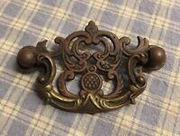 "Antique Ornate Bronze Drawer Door Drop Pull Handle 3-1/8""x1-7/8"" Marked K30 K32"