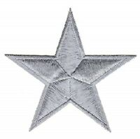 Silver Star Patch Embroidered Iron Sew On Applique Badge Motif Biker Rock