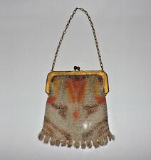 Vintage Whiting & Davis Mesh Purse With Colored Design DG