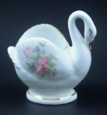 Lefton Figurine Bone China Swan Floral Designs Gold Trim #05258