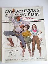 1939 July 29 Saturday Evening Post Davis Cover Art Cowby Cowgirls, Coca Cola Ad