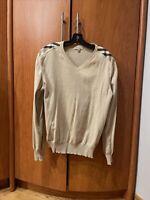 Burberry Brit Mens Long Sleeve Shoulder Nova V Neck Check Sweater Size Medium
