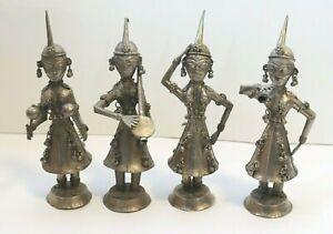 Antique INDIA Hindu Silver-tone Metal MUSICIAN DANCER 4 Figurines