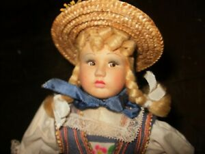 11-in cloth Magis doll, made in Italy, rare LUCERNE costume, must see condition!