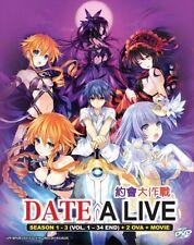 DVD Anime DATE A LIVE Complete Season 1+2+3 (1-34 end)+2 OVA & Movie English Dub