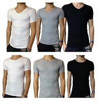 MENS CREW & VEE V NECK T-SHIRT S M L XL SLIM FIT CASUAL BASIC SHORT SLEEVE GYM