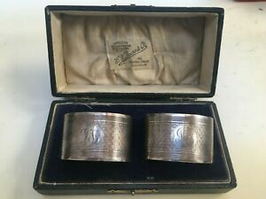 2 x Antique Solid Silver Napkin Rings - Martin Hall & Co, 1924