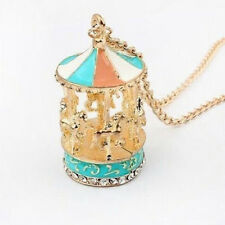 Sweet Enamel Carousel Merry Go Round Horse Charm Pendant Sweater Chain Necklace