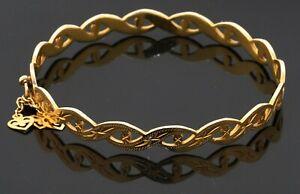 Vintage heavy 22K yellow gold elegant bangle bracelet w/ heart charms