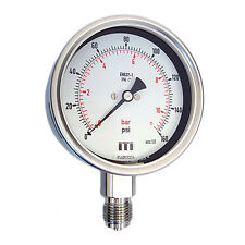 Pressure Gauge 100mm Dial Glycerine Fillable Bottom Connection (Bourdon Tube)