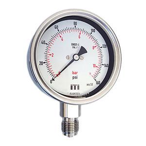 Pressure Gauge 100mm Dial Glycerine Fillable Bottom Connection (Bourdon Tube)