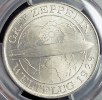 "1930-A, Germany (Weimar). Large Silver 5 Mark ""Zeppelin"" Coin. PCGS MS-65 (+)"