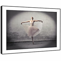 E134 Ballet Ballerina Black Grey Pink Modern Framed Wall Art Large Picture Print