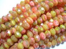 25 beads - 8x6mm Summer Peach Gold Blend Czech Fire polished Rondelle beads