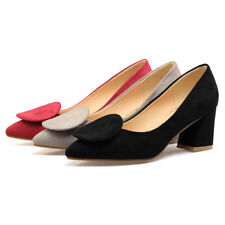 Office Ladies Pointed Shoes Faux Suede Med Block Heels Party Pumps US Size s210