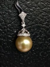 10mm Natural Australia Golden South Sea Pearl, Diamond Pendant 0.16CT. Was $1600