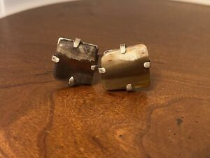 RETRO Sterling Silver Tone Square Agate Cufflinks
