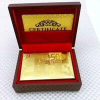 Luxury 24K Gold Foil Poker Playing Cards Deck Plated Card Toy + Nice Wood Box