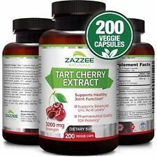 Tart Cherry Extract | 3000 mg Strength | 200 Veggie Caps | Potent 10:1 Extract